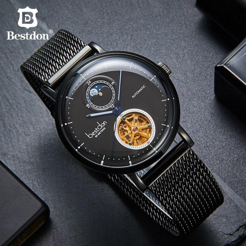 Relojes de pulsera mecánicos para hombre de Suiza, reloj Tourbillon automático, reloj de acero inoxidable de marca de lujo para hombre, reloj de regalo Masculino