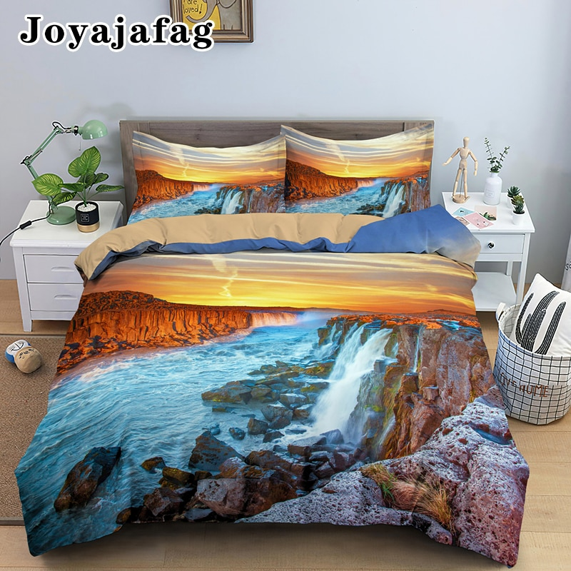 Beautiful Sunset Landscape Bedding Set Soft Comforter Cover With Pillowcover Single Double King Queen Size Bedclothes