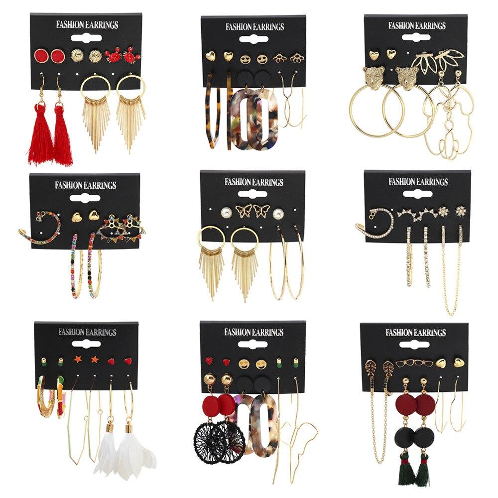 Ensemble de boucles doreilles en cristal multicolore pour femmes, nouvelle mode, géométrique bohème ronde, acrylique, glands, longues gouttes, bijoux, 2020