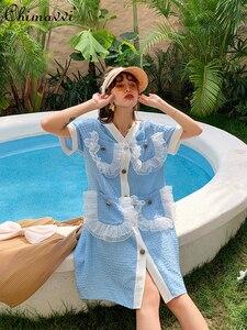 Short Sleeve V Neck Large Pocket Dress 2021 Summer Korean Style Loose Short Dress Female Loose Waist Plus Size Dress