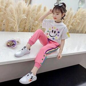 EACHIN Grils Set Summer Fashion Teen Girls Clothing Set Smiley  Print T-shirt + Side-Stripe Sweatpants Pants Sets For 3-12 Years