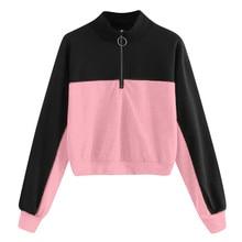 Jaycosin 2019 Fashion Autumn Women Simple Loose Colorblock Zipper Sweatshirt Stylish Long Sleeve Comfortable Casual Blouse 108#0
