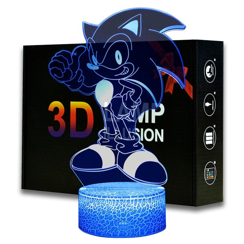 Magiclux dibujos animados noche luz ABS Base con luz acrílica Borad ilusión óptica Sonic el Hedgehog Amina lámpara de escritorio