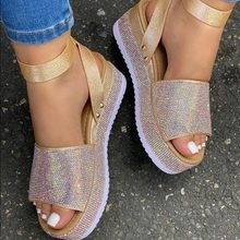 2021 Summer Women's Rhinestone Sandals Fashion Ladies Crystal Shoes Women Thick Bottom Shoe Buckle F