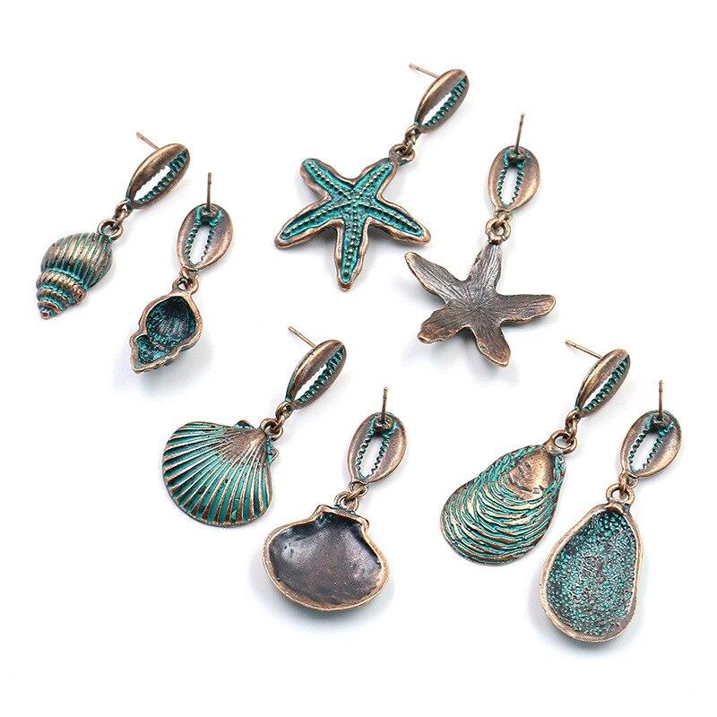 Vintage Bohemia Large festoneado ostra estrella de mar gota pendiente orecchini Natural Cowrie Shell pendiente verano océano joyería de moda
