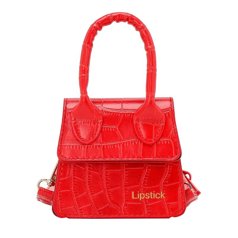 2020 Fashion Women Lipstick Small Bag New Style Stone Pattern Mini Shoulder Bag Crossbody Hand Bags Sweet Handbags and Purses