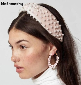 2019 Women Fashion Pearls Headband with Pearl Drop Earring Solid Elastic Cross Knot Headbands for Girls Hair Accessories