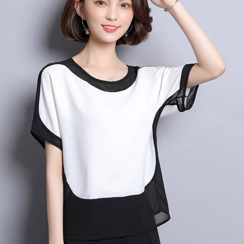 Хит, цветные женские топы и блузки, модная Свободная шифоновая блузка размера плюс, женские топы, рубашки, однотонные короткие с круглым выр...