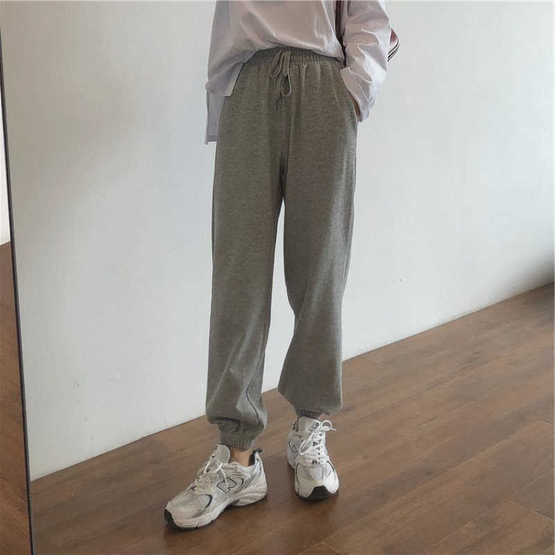Japanese Gray Sports Pants Female Spring and Autumn Loose Tappered Trendy Ins Slimming Versatile Thi