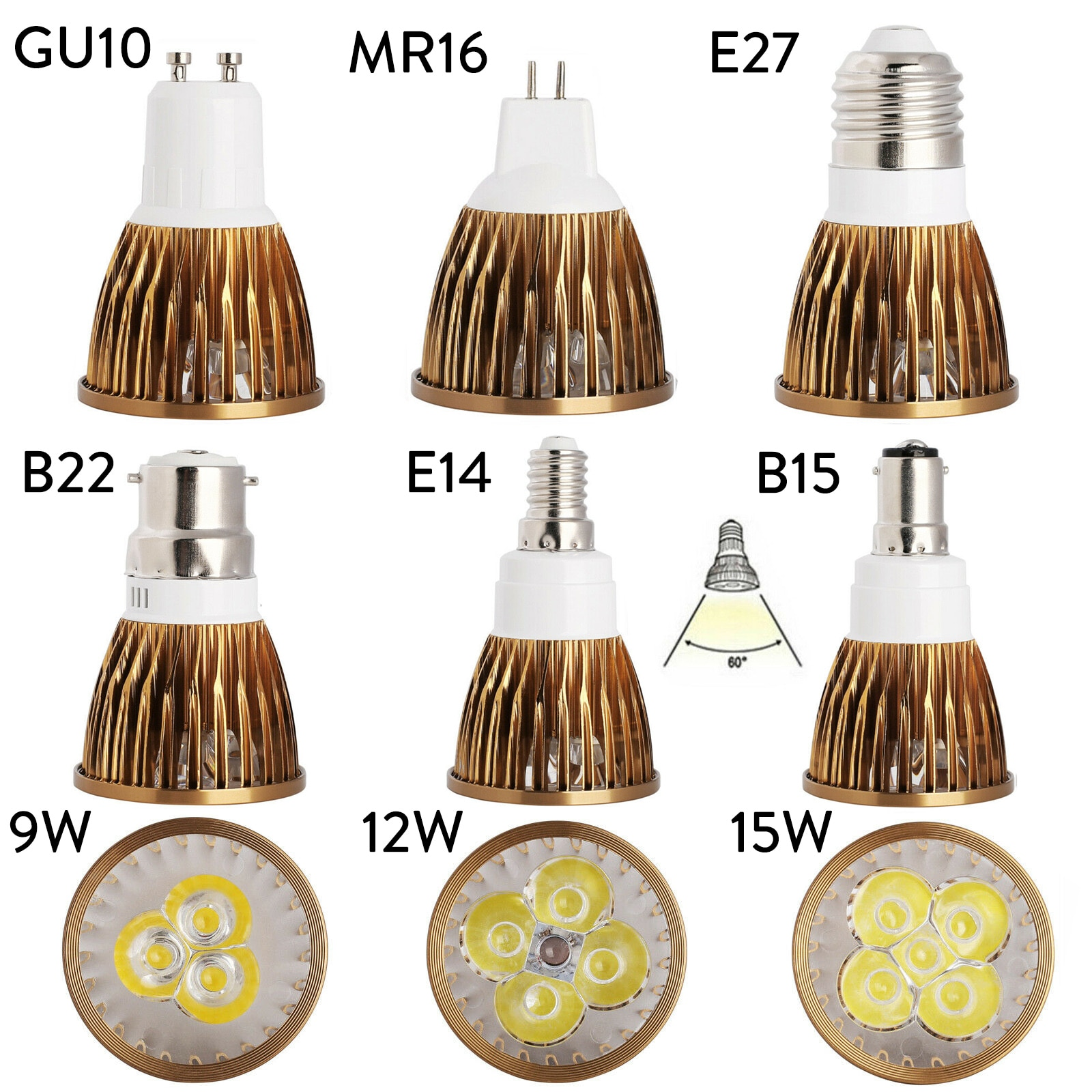 1 Uds. Bombillas LED superbrillantes regulables GU10 MR16 E27 E14 GU5.3 B22 B15 AC 110V 220V DC 12V lámpara para el hogar Oficina Luz