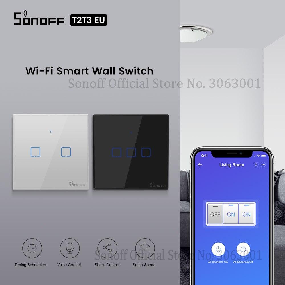 SONOFF T2 T3 negro EU interruptor de luz Wifi interruptores táctiles de pared inteligentes APP/433 RF control remoto Conrtol interruptor inalámbrico 1/2/3 Gang Switch