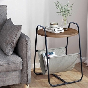 Nordic Style Sofa Side Table Round Double Layer Coffee Tables Storage Shelf Bedside Desk Living Room Bedroom Decor Furniture