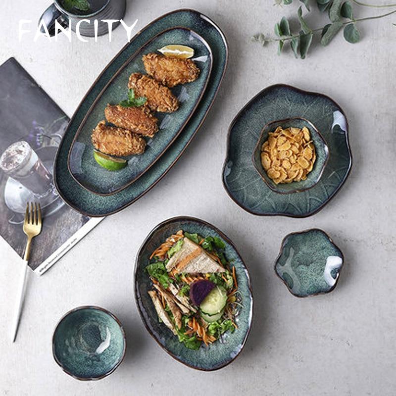 Fancity- طقم أطباق سيراميك على الطريقة اليابانية ، طقم أطباق سيراميك متغير منتظم ، مزيج عميق ، أدوات مائدة بسيطة ومبتكرة للمنزل