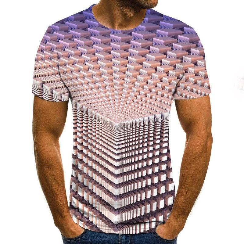 Tridimensional vortex men tshirt 3d impresso verão o pescoço diário casual engraçado t camisa