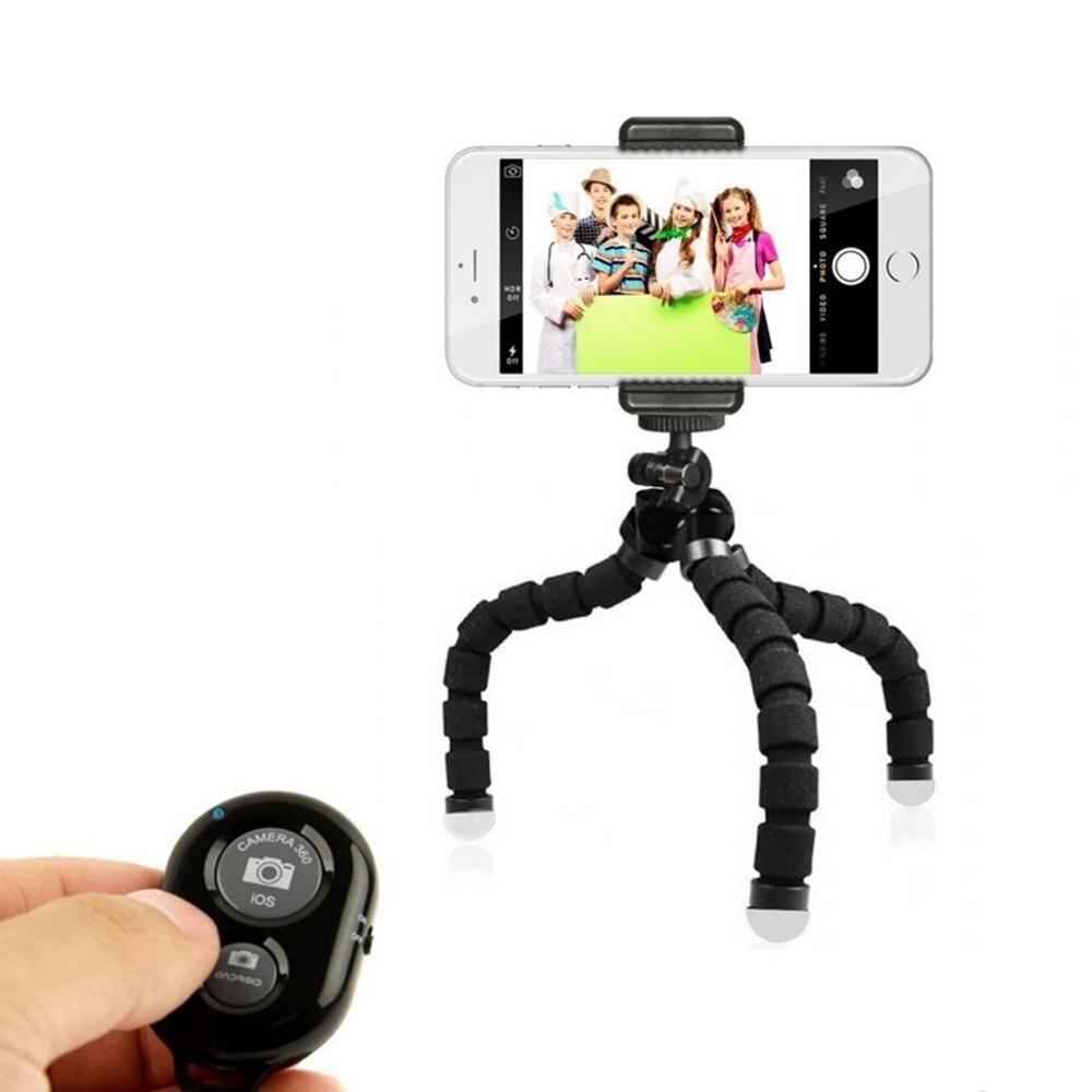 Tripé tipo polvo, tripé flexível para iphone, xiaomi, para huawei, tripé para câmera gopro, com prendedor para celular, controle remoto