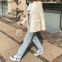 blazer women jacket loose fashion blazer female coat winter autumn casual office clothes double breasted solid overcoat blazer