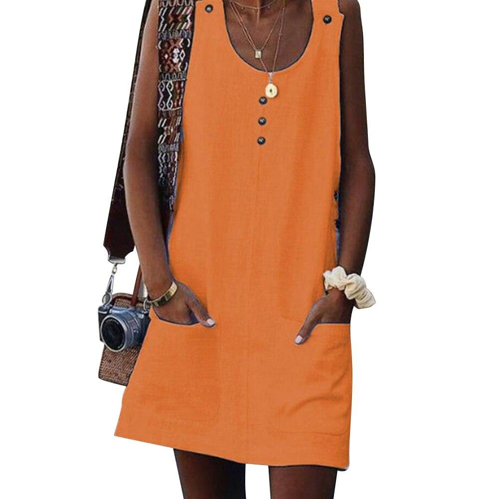 Vestido sin mangas de cuello redondo para mujer, minivestido liso de algodón con bolsillos botón HSJ88