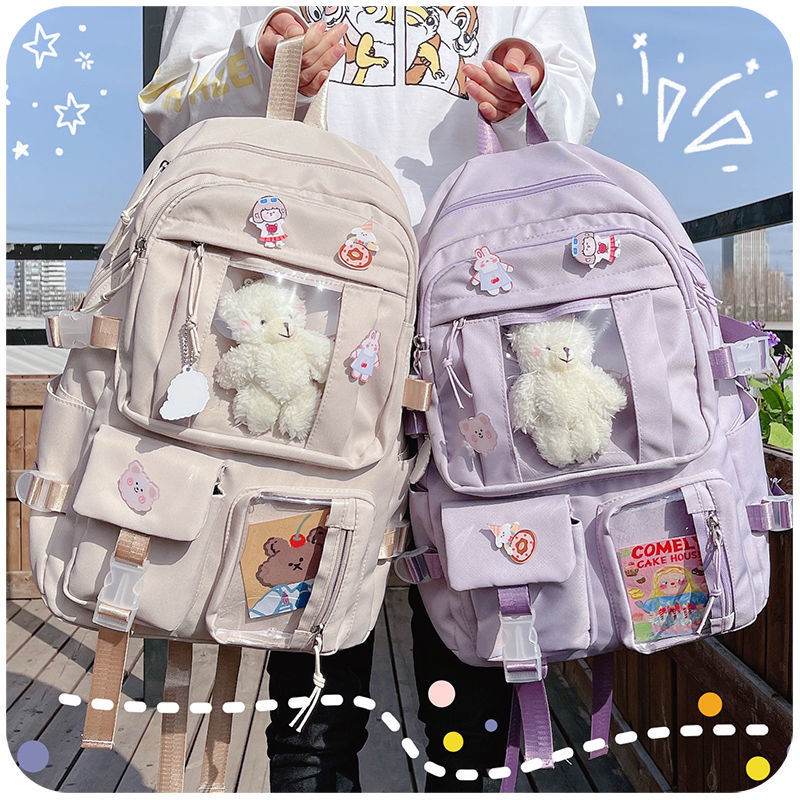 Backpacks Candy Color Sweet Cute School Bags Large Capacity Multi-pockets Water Proof Students Colle