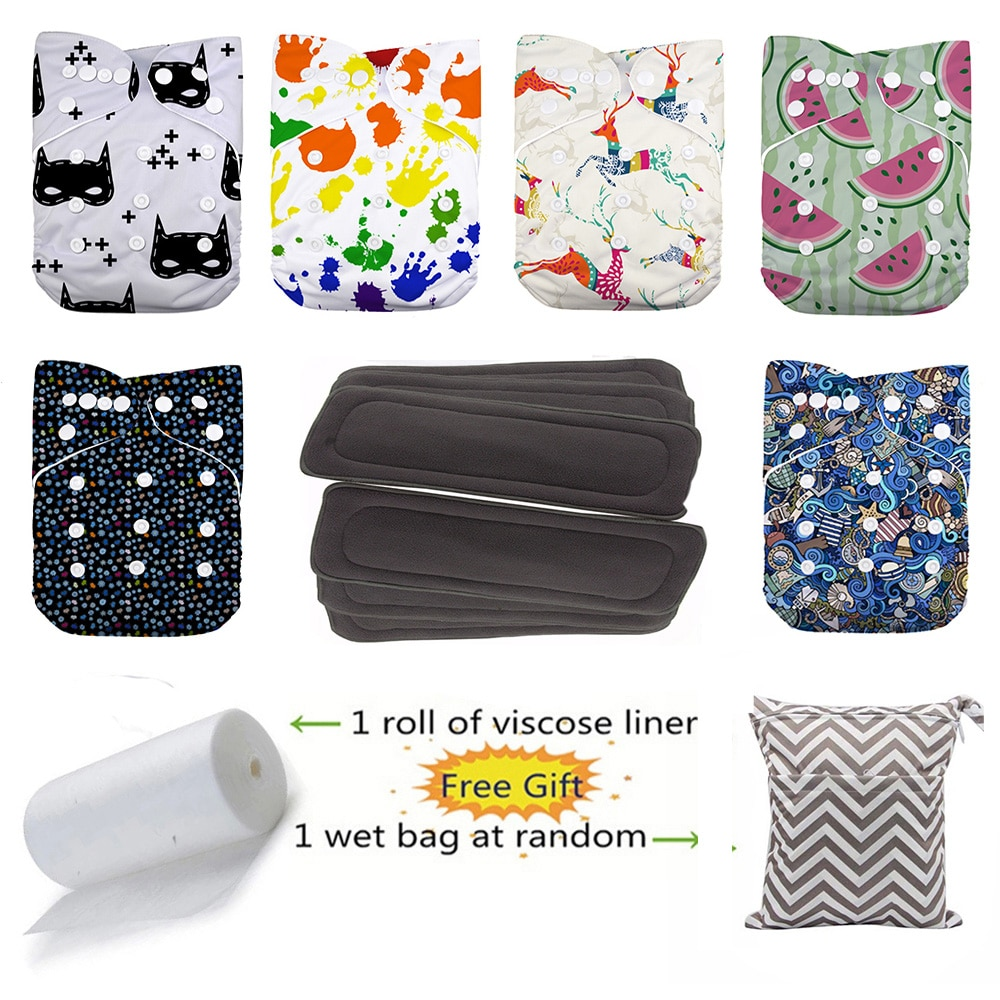 New 6 Five-Layers Bamboo Charcoal Inserts And Baby 6pcs One Size waterproof  breathable Cloth Diaper Nappies
