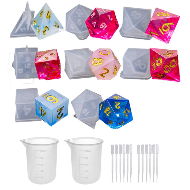 DIY Crystal Epoxy Mold Dice Fillet Shape Multi-spec Digital Game High Mirror dice mold silicone Mould Making 85LB