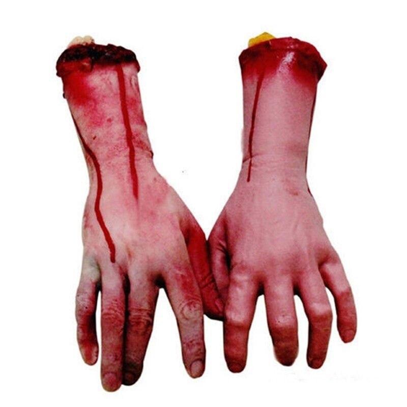 1 шт. Страшная рука, рука, отрезанная кровавым ужасом, поддельная латексная рука в натуральный размер, Страшная рука, реквизит на Хэллоуин, ук...