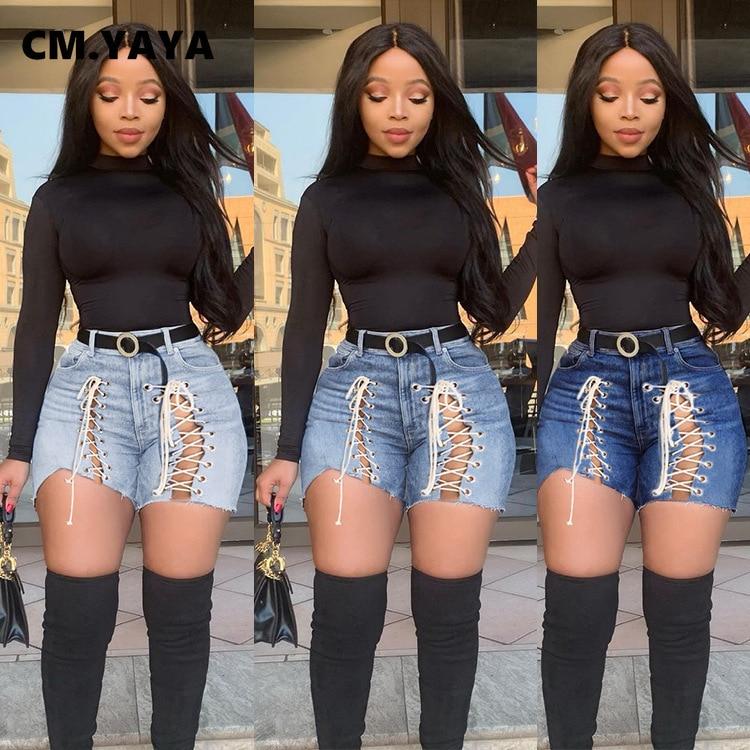 См. «Несокрушимая Механическая размера плюс S-3XL женские шорты со шнуровкой, с выбитыми частями Повседневная застежка-молния джинсы уличной для ночного клуба джинсовые шорты узкие
