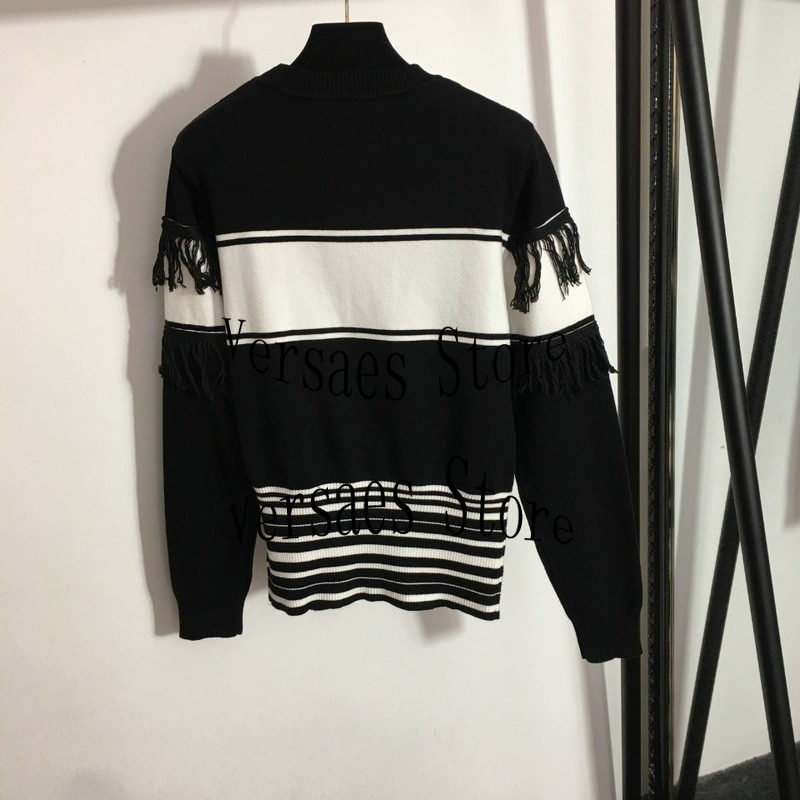 2021 luxury fashion tassel edge contrast stripe women's knitted sweater round neck long sleeve sweater spring and autumn sweater enlarge