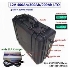 20000 cycles LTO 12v 400Ah 300Ah 200Ah Lithium titanate batterie 12V avec BMS pour bateau RV système solaire réfrigérateur + 20A chargeur