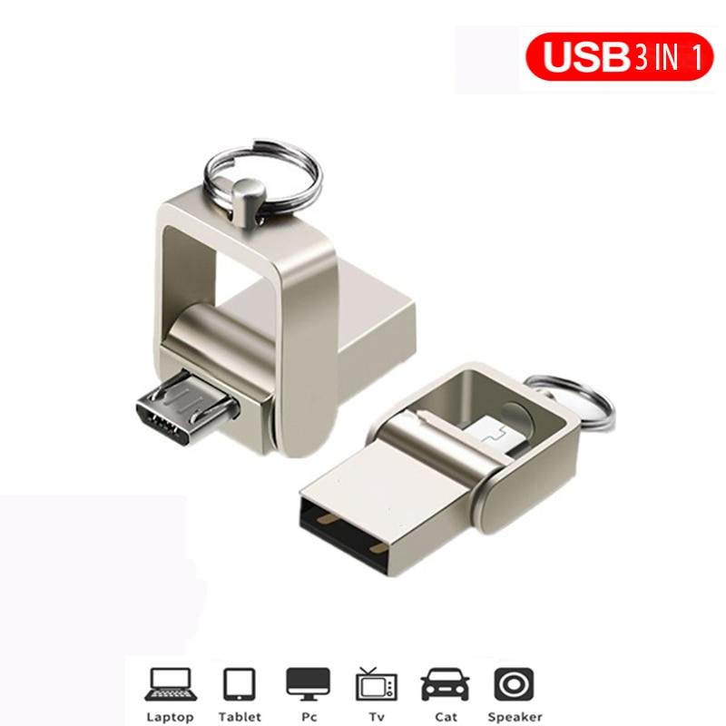 3 IN 1 pen drive 32GB Micro usb 2.0 memory stick 64GB pendrive 16GB usb flash pen metal For Type-C usb Key flash drive
