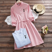 2020 New Fashion Women Fresh Cat Embroidery Stripe Dress Medium-long Stand Collar Slim Elastc Waist A Line Dress Dropshipping