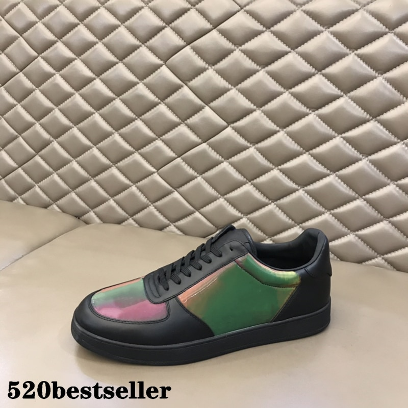 Men's Casual trainers flat shoes sneakers low top leather patchwork Colorful Lace up Run Away shoes