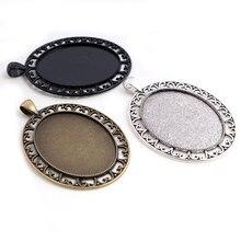 Nouvelle mode 5 pièces 30x40mm taille intérieure Antique argent plaqué Bronze noir percé Style Cabochon Base réglage pendentif à breloques