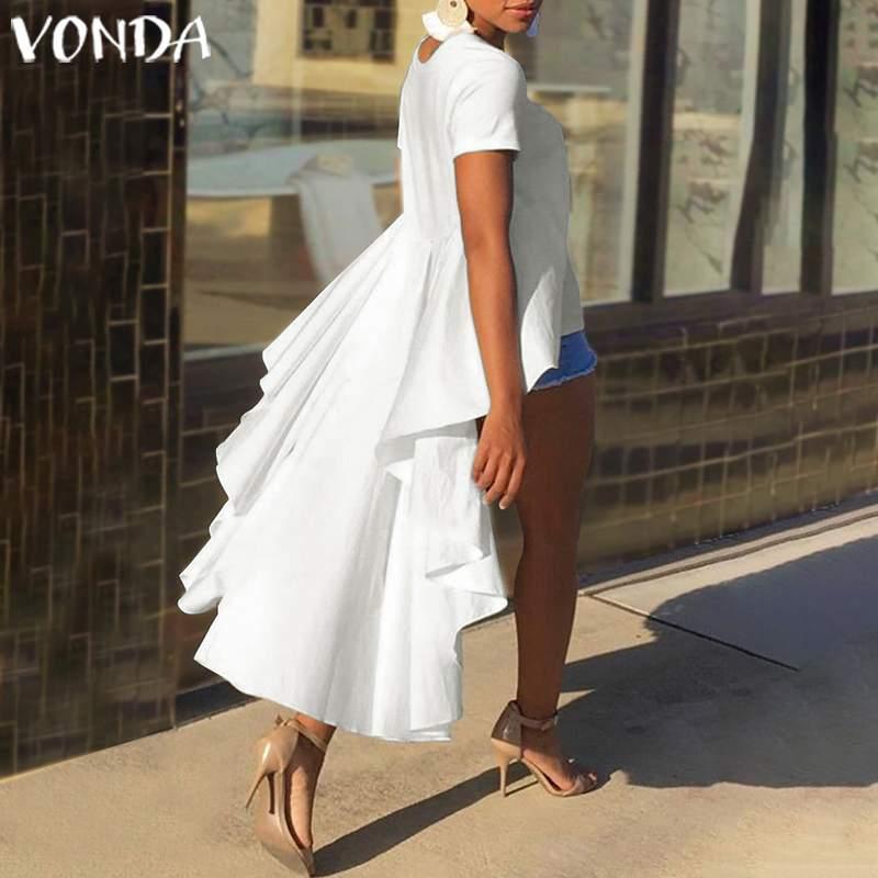 Женская Асимметричная блузка VONDA, повседневная Асимметричная Блузка с оборками, летняя блузка большого размера 2020