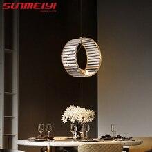 Cuivre pendentif LED lumières nordique Aqua bleu cristal suspension lampe pour salle à manger cuisine chambre barre suspension lampe lustre pendente