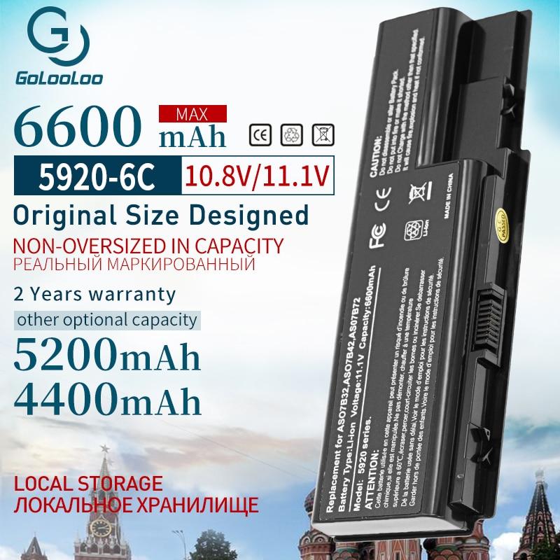 6600mAh batería nueva AS07B31 AS07B41 para Acer Aspire 5920, 5230, 5310, 5315,...