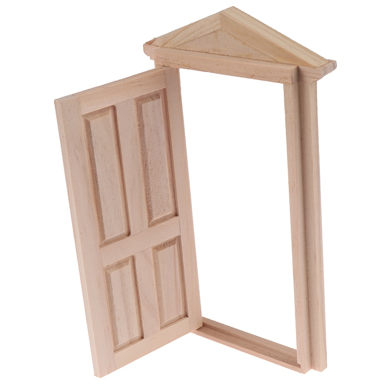 New DIY Wooden Spire Door Doll house Accessories Pretend Play Toy for kids 1:12 Doll House door Furniture Simulation Miniatures
