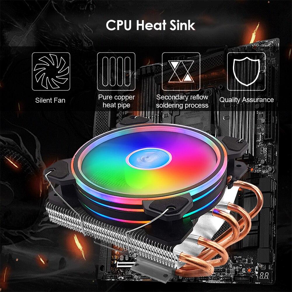 120mm CPU Cooler Fan Desktop PC Cooling Fan Copper Radiator RGB Lighting for Intel for AMD Computer Heatsink