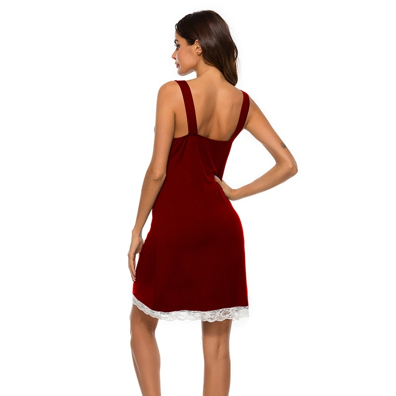 Hot Sale Nightgowns V-Neck sleep tops Lace Homewear Set For Women Spaghetti Strap Sleepwear Summer Sexy Lingerie Nightdress
