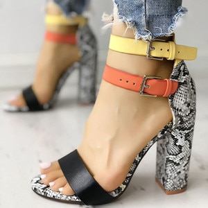 Women Shoes Woman High Heel Sandals Summer Fashion Ankle Strap Open Toe Lady Sexy Shoes For Ladies Mix Color Footwear 10cm