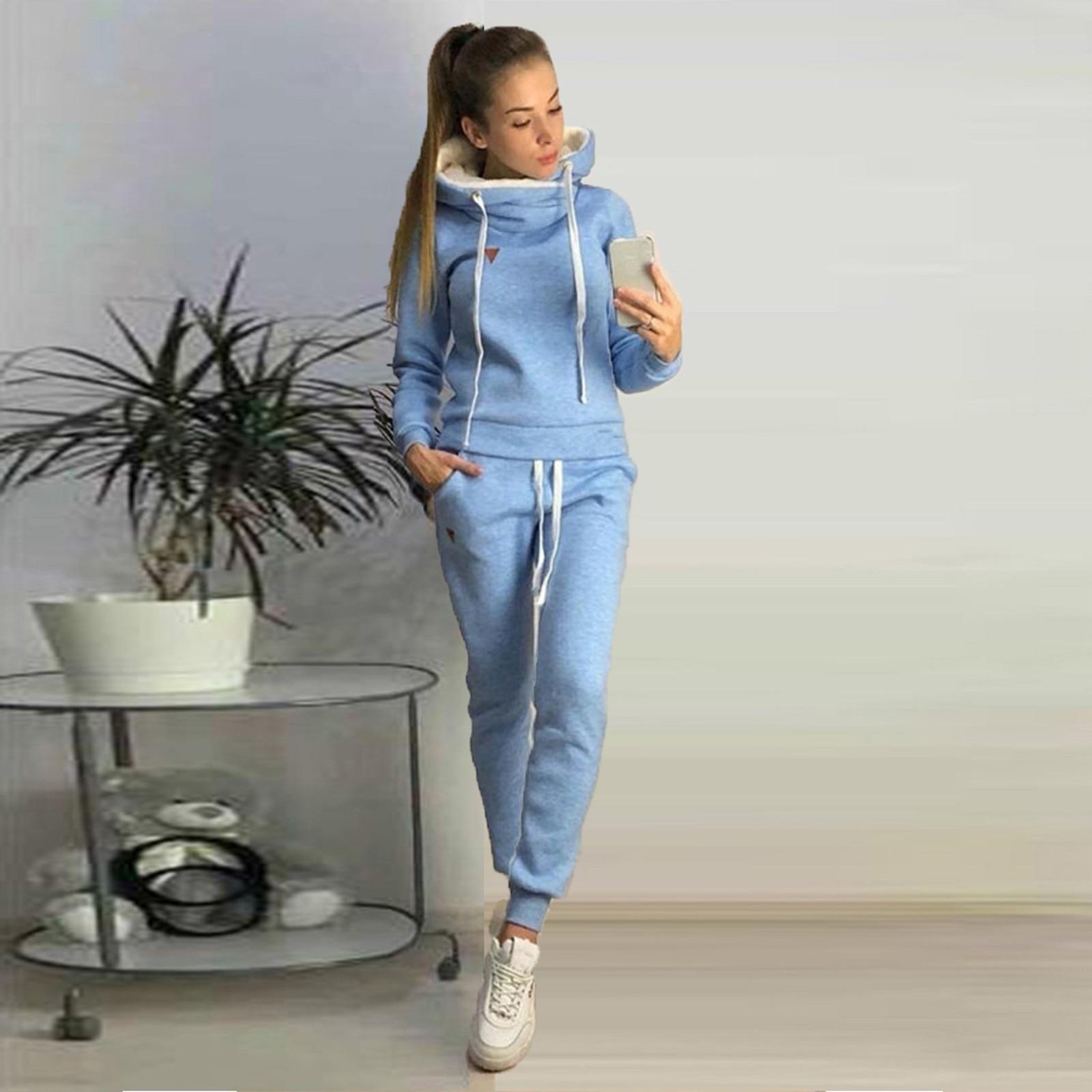 Conjunto de ropa deportiva informal de felpa para mujer, jersey con capucha,...