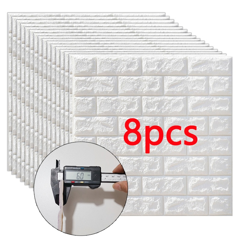 3D Wall Stickers 8pcs Imitation Brick Bedroom Decor Waterproof Self-adhesive Wallpaper For Living Room Kitchen TV Backdrop Decor