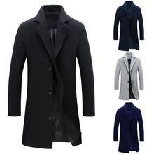 Abrigos gruesos para hombre y chaqueta de invierno cálido Color sólido de lana Trench Blends abrigo largo Delgado prendas de vestir abrigo para hombre Abrigos chaquetas