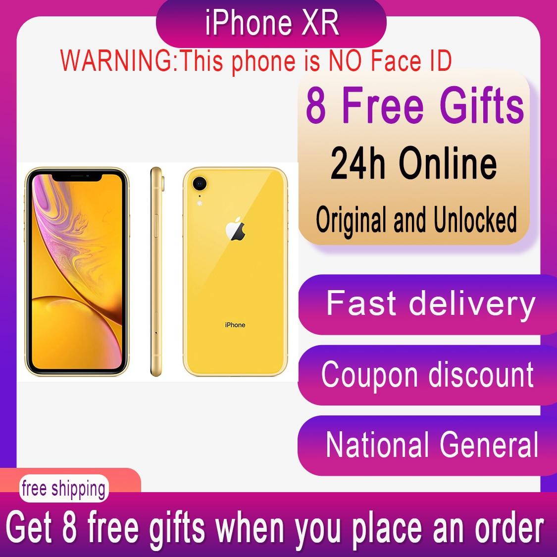 Unlocked Original Apple iPhone XR xr 6.1inch NO Face ID NFC ROM 64GB/128GB/256GB Smartphone A11 iphonexr Hexa-core Apple Pay