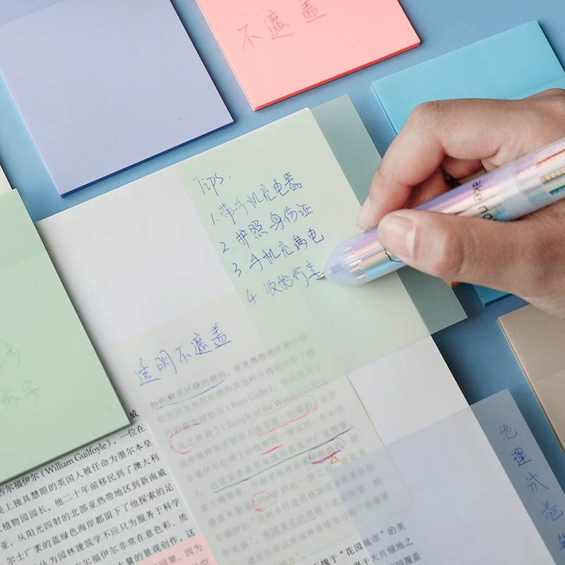 Transparent Sticky Note Pads Waterproof Self-Adhesive Memo Notepad School Office Supplies Stationery