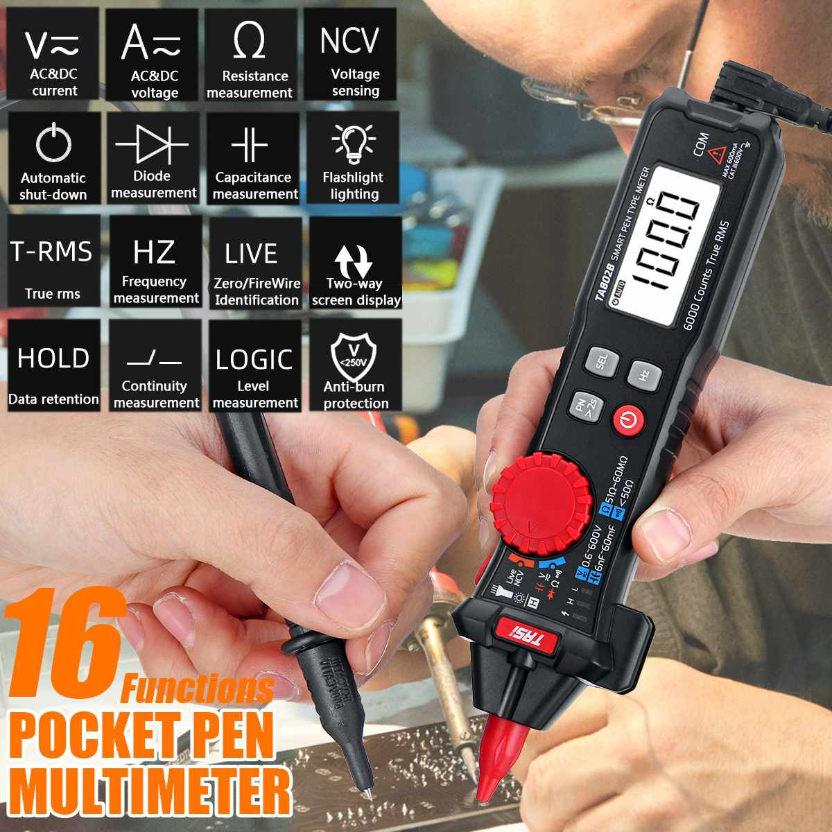 Digital multimeter True RMS 6000 Counts Digital Display Pocket Pen Multimeter High Precision Smart Multimeter Automatic Range