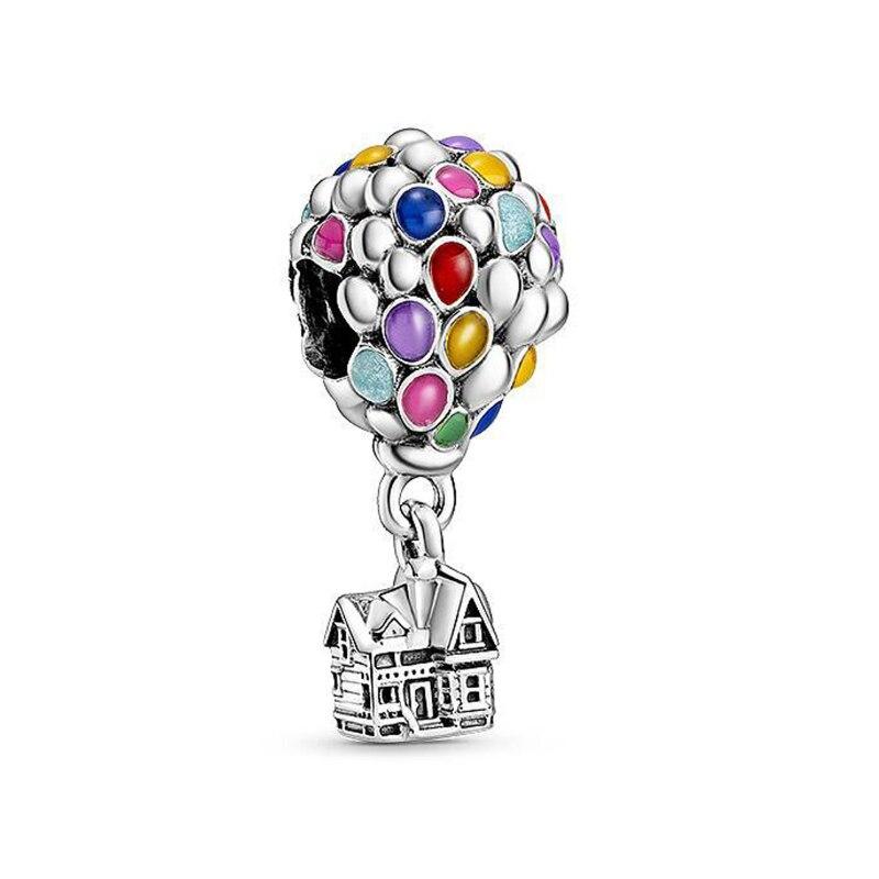 Contas de prata esterlina 2020, balão de ar quente colorido, casa voadora, encantos, pulseira pandora original, joia feminina diy