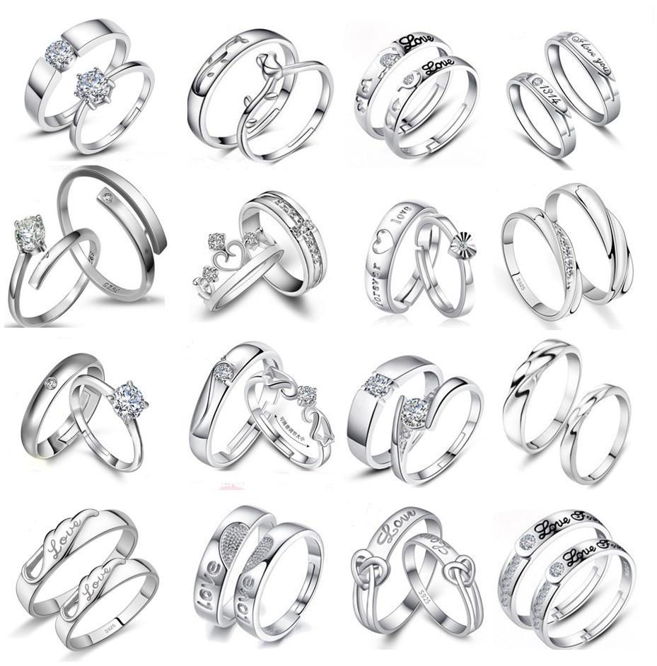 JIOROMY 1Pair Copper Zirconia Wedding Bands Rings for Women Men Jewelry Engagement Ring Couple Valen