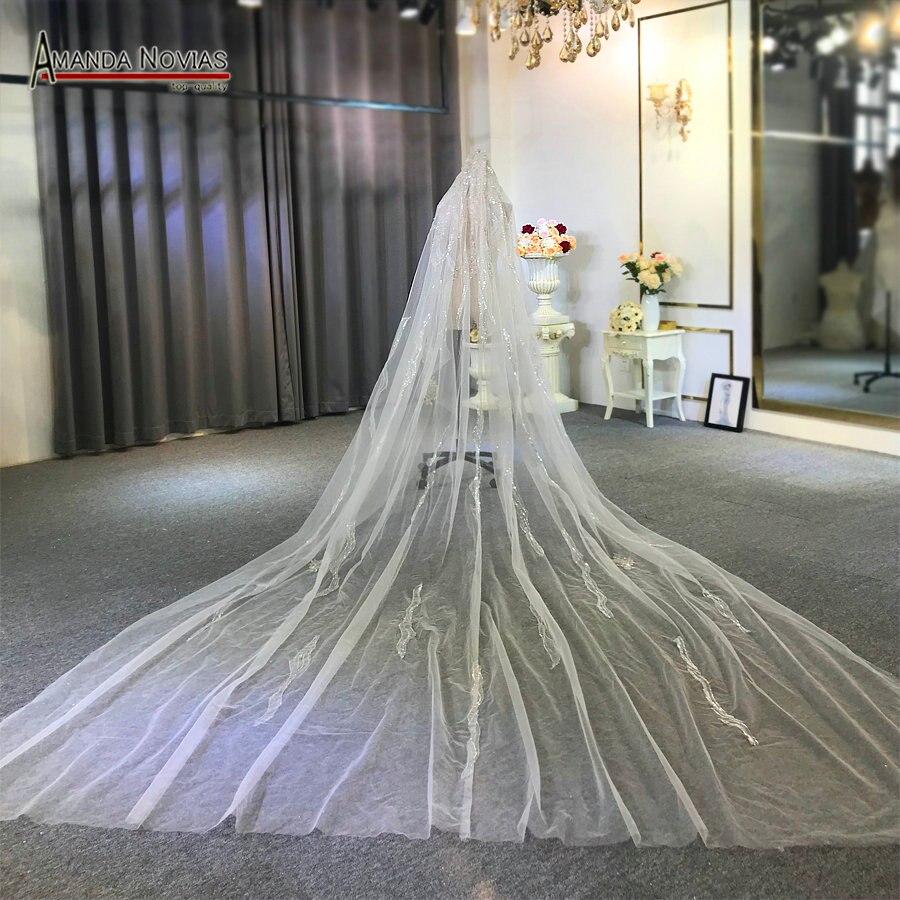 4m de largo velo con una capa de encaje con peine velo de novia con encaje de tela de rebordear