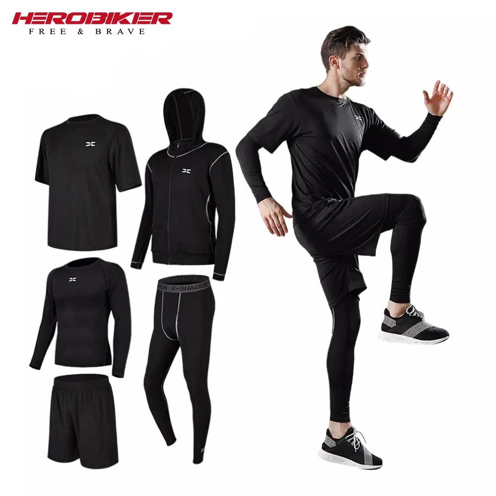 Мужские спортивные трикотажные лосины, спортивный костюм с длинными рукавами, дышащие быстросохнущие лосины для воркаута, фитнеса и тренир...