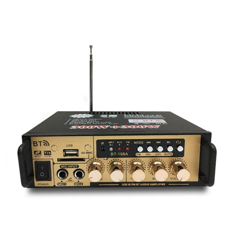 AMPLIFICADOR DE POTENCIA DE Audio 3C-600W caliente con enchufe de la UE 12/220V 2CH Mini HIFI Bluetooth amplificador de Audio Digital para el hogar/coche